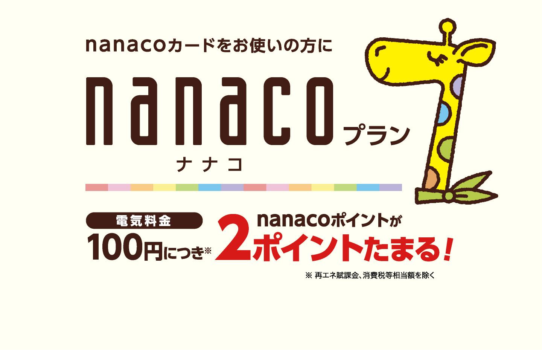 nanacoカードをお使いの方にnanacoプラン。100円につきnanacoポイントが2ポイントたまる!詳しくはnanacoプランページへ
