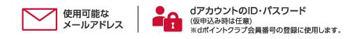 使用可能なメールアドレス。dアカウントのID・パスワード、(仮申し込み時は任意)※dポイントクラブ会員番号の登録に使用します。
