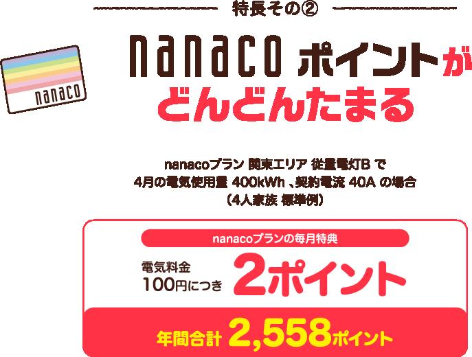 nanacoポイントがどんどんたまる。電気料金100円につき2ポイント(4人家族標準例)