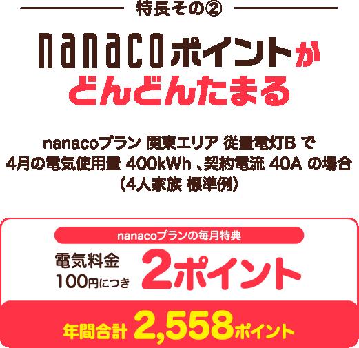 nanacoポイントがどんどんたまる。電気料金100円につき2ポイント。(4人家族標準例)