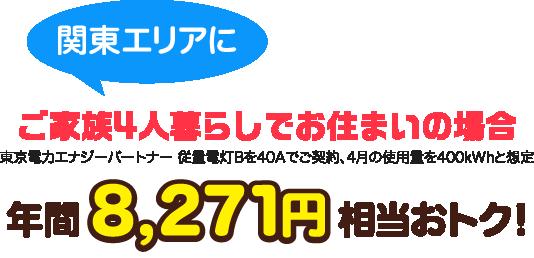 関東エリアにご家族4人暮らしでお住まいの場合、年間8,271円相当おトク。(東京電力エナジーパートナー 従量電灯Bを40Aでご契約、4月の使用量を400kWhと想定)