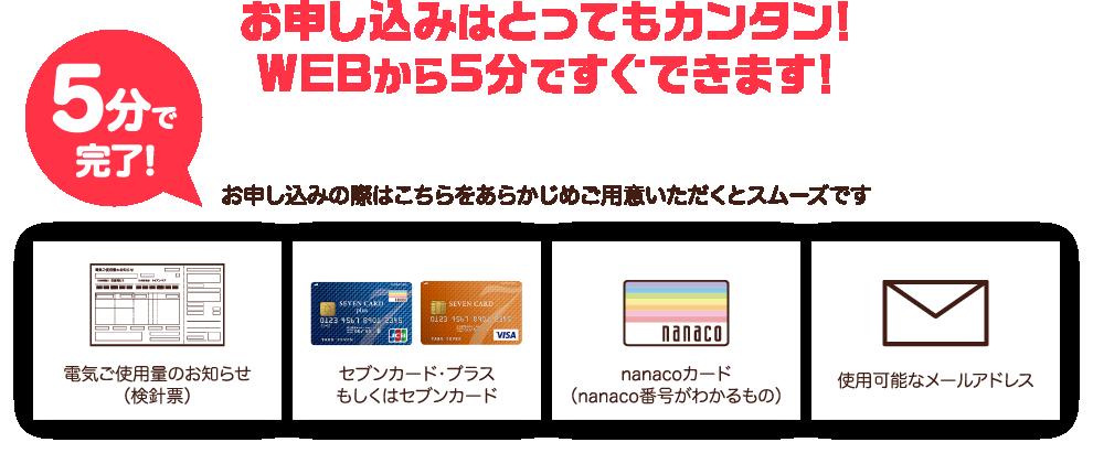 お申し込みはとっても簡単。Webから5分ですぐできます。お申し込みの際はこちらをあらかじめご用意いただくとスムーズです。電気ご使用量のお知らせ(検診票)、セブンカードプラスもしくはセブンカード、nanacoカード(nanaco番号のわかるもの)、使用可能なメールアドレス