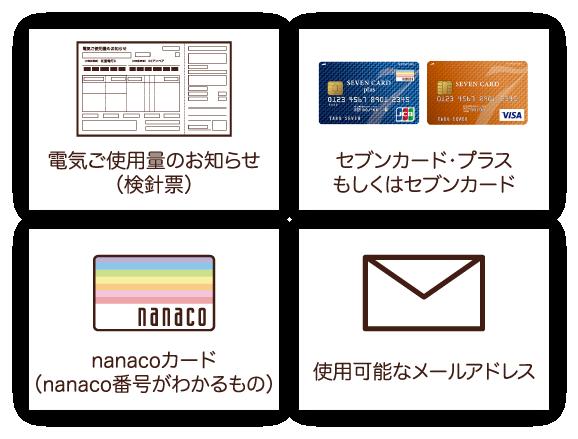 電気ご使用量のお知らせ(検診票)、セブンカードプラスもしくはセブンカード、nanacoカード(nanaco番号のわかるもの)、使用可能なメールアドレス