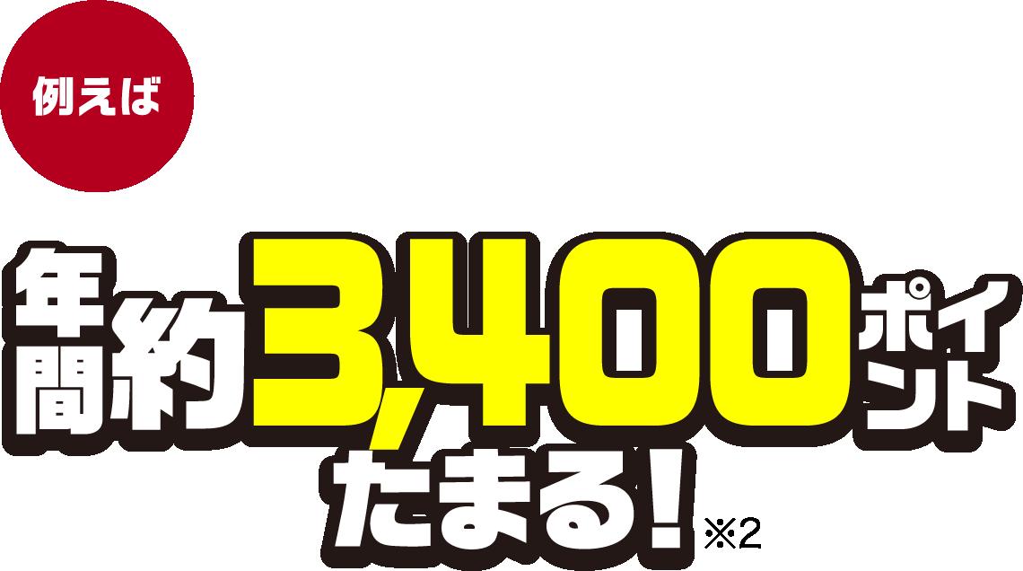 例えば、電気料金を月に約10,000円払っている場合、年間約3,400ポイントたまる!