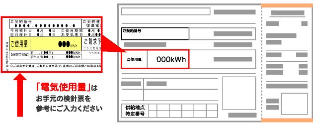 「電気使用量」はお手元の検針票を参考にご入力ください