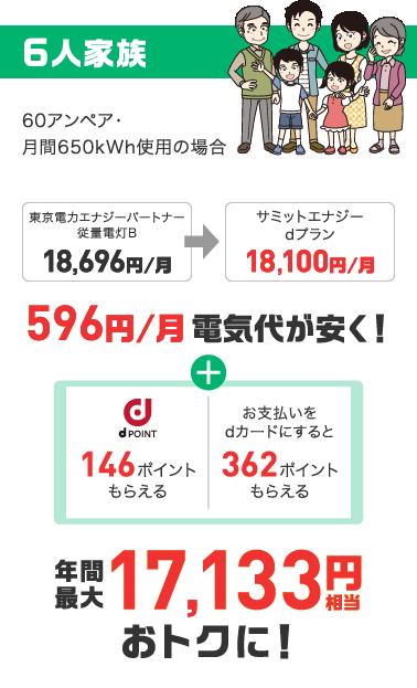 6人家族。596円/月電気代が安く!年間最大17,133円相当おトクに!
