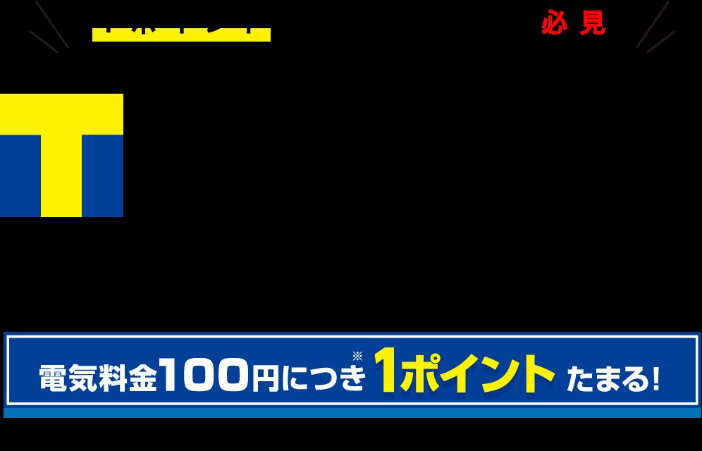 Tポイントカードをお使いの方にTポイントプラン。100円で1ポイントたまる!
